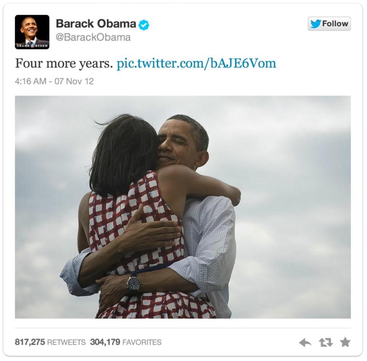'Four more Years': 2013년 2월 현재까지 가장 많이 리트윗된 사례
