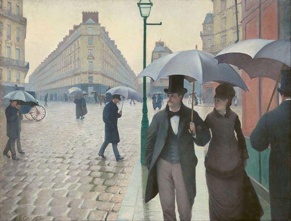 [Gustave Caillebotte, Paris Street: Rainy Day, 1877]. 파리의 쌩라자르역(Saint-Lazare)을 배경으로 한 작품으로 19세기 말의 패션과 도시의 모습을 읽을 수 있다. 도시의 출현과 카페, 기차역, 공연장 등은 공적영역의 개념화에 중요한 역할을 했다.