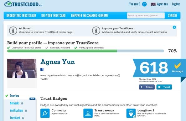 신뢰카드(http://trustcard.com)는 개인의 소셜네트워크 활동을 기반으로 신뢰점수를 산정하는 서비스이다.