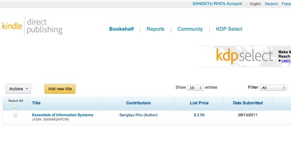 Kindle Direct Publishing 서비스를 이용하여 출판한 필자의 저서 (현재는 한글이라는 이유로 더 이상 판매되지 않음)