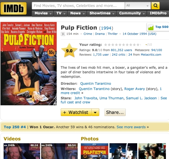 IMDb는 영화, 방송, 게임 콘텐츠의 정보를 제공하는 온라인 데이터베이스이다