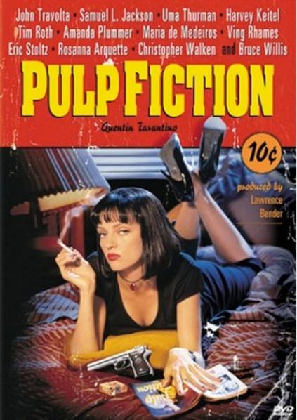 퀜틴 타란티노의 작품 펄프픽션. 1994년 당시 국내에서는 예술영화로 낙인 찍힌(?) 영화는 망한다는 정설이 있어서 칸느 영화제에서 황금종려상을 수상하고도 개봉전 두려움에 떨었다. 국내에서 전세계 최초로 개봉되었고 의외로 흥행했다. (이미지 출처: http://www.imdb.com/title/tt0110912/)