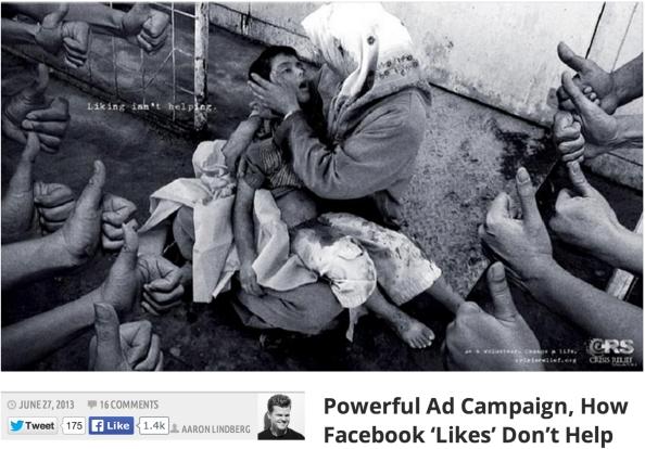 페이스북의 '좋아요'은 아무리 눌러도 실제로 기아 난민을 돕는데 도움이 되지 않는다는 광고 캠페인(Publicis Singapore)