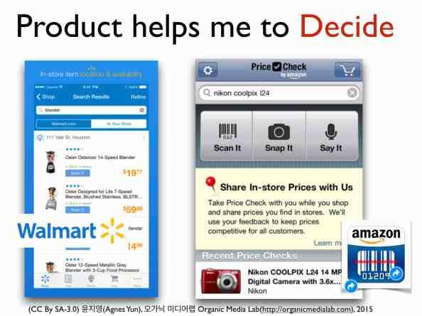 왼쪽과 오른쪽의 어플리케이션이 모두 고객의 쇼핑을 도와준다. 차이점이 있다면 월마트는 월마트 공간 내에서만 제품을 연결하고 오른쪽 아마존은 아마존의 공간을 넘어선다. 판매자로서 아마존을 포함하여 가장 싸게 해당 제품을 파는 판매자, 가격 정보 등을 연결하며 고객이 직접 자신이 매장에서 보고 있는 가격정보를 올려주기도 한다.